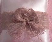 Afforable wedding satin & burlap  ring pillow for country wedding