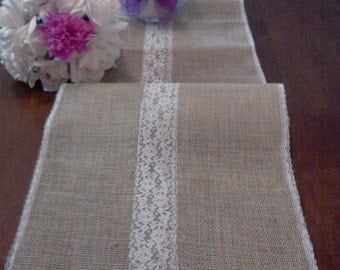 Wedding Burlap table runner tan 72 inch