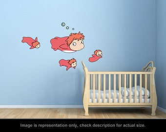 Ponyo Inspired - Ponyo and Sisters Wall Art Applique Stickers