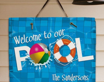Personalized Welcome to Our Pool Slate Plaque Sign Two Sizes