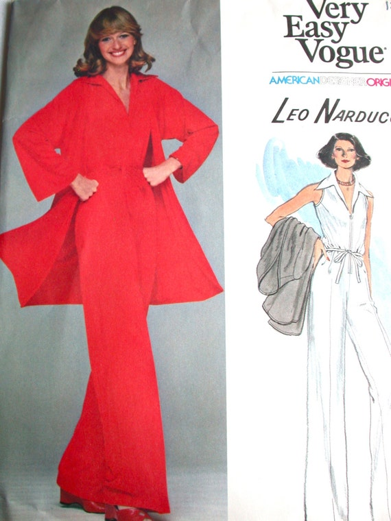 "Vogue American Designer Pattern No 1389 UNCUT Vintage 1970s Size 12 Bust 34"" Very Easy Leo Narducci Sleeveless Jumpsuit Playsuit and Jacket"