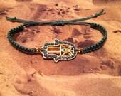Turquoise and Gold Hamsa Macrame Bracelet