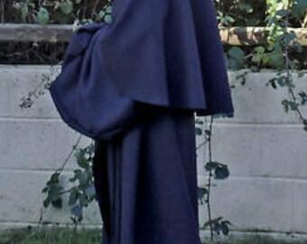Black Cotton Drill Robe - Monk/Pagan/Grim Reaper/Larp/Halloween/Fancy Dress/Ritual small to XXL