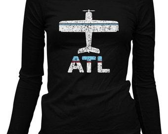 Women's Fly Atlanta Long Sleeve Tee - ATL Airport Ladies LS T-shirt - S M L XL 2x - Atlanta Shirt - 3 Colors