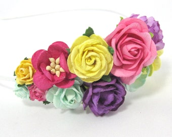 Yellow, pink, mint and purple roses Floral Headband Flower Fascinator Vintage Wedding Party Bridal Accessory Bridesmaid statement