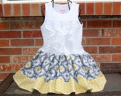 CLEARANCE SALE Girls Yellow Gray Dress, Toddler Girls Dress, Retro Gray Yellow, Tank Lace Ruffle, Girls Dress - Last One 3T