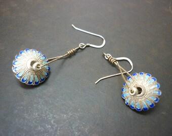 striking enameled metal earrings