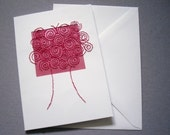 Stitched Greetings Card. Red Abstract Spiral Tree Design