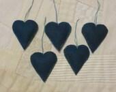 Teal blue wool heart ornament set, 5 heart Christmas ornaments, valentine ornaments, teal green wool ornament set, teal ornaments