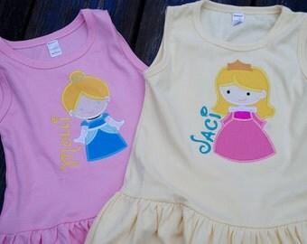 Princess applique Monga dresses with name