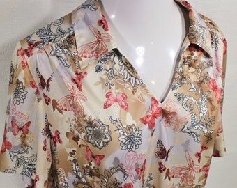 Vintage Butterfly Blouse - Butterfly Shirt - Ladies Hippie Shirt - Vintage Polo - Summer Shirt - Extra Large Shirt by Sara Morgan