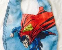 Superman Bib - Baby Bib - Upcycled Bib - Repurposed Bib - Vintage Sheets Bib - Vintage Superman Bib - Superman Baby Bib - Upcycle Fabric Bib