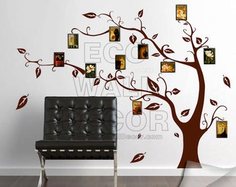 PEEL and STICK Kids Nursery Removable Vinyl Wall Sticker Mural Decal Art - Giant Sienna Tree with Photo Frames
