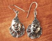 SALE Vintage Sterling Silver Circus Clown Earrings SALE