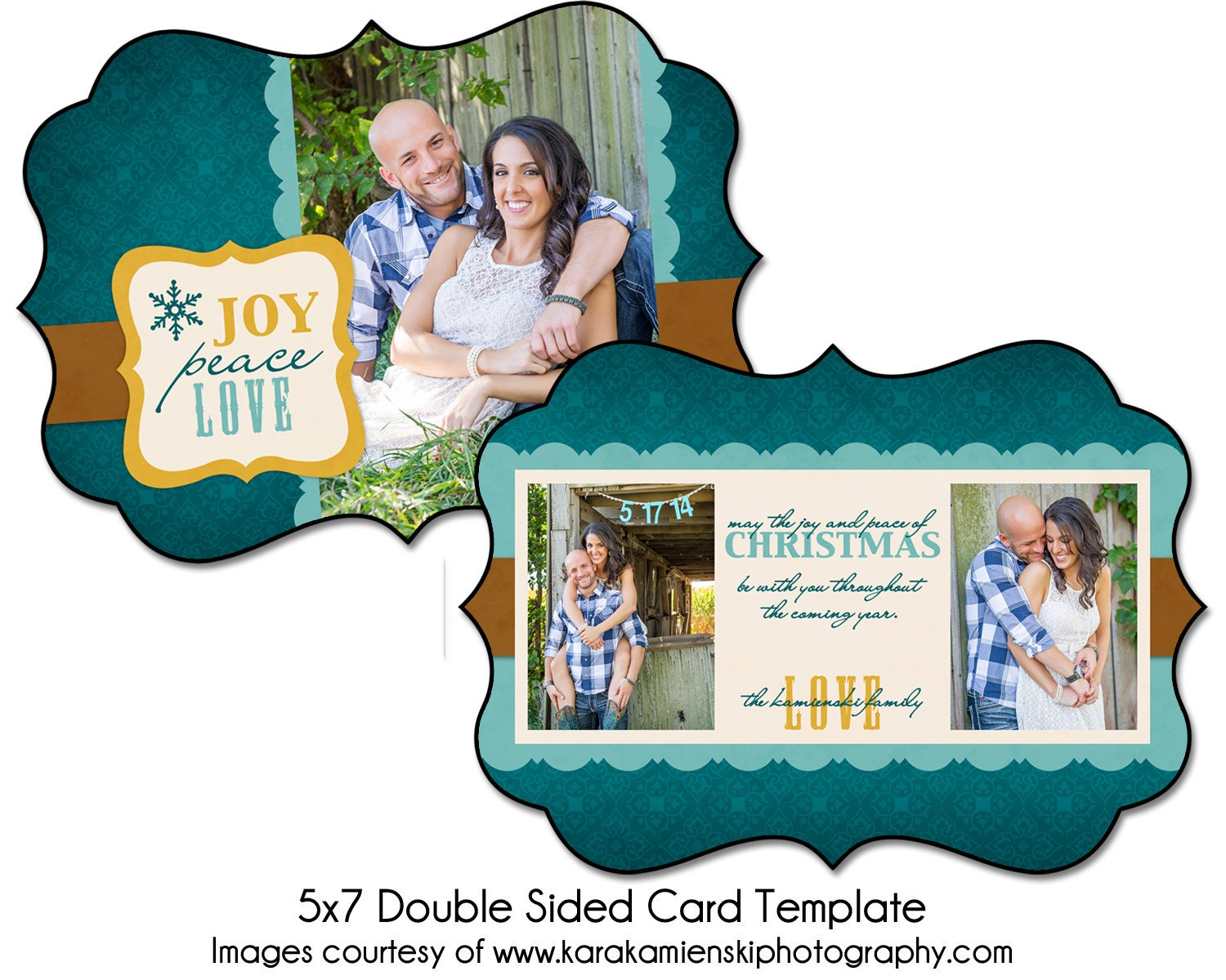 christmas card template joyous love 5x7 double sided card. Black Bedroom Furniture Sets. Home Design Ideas