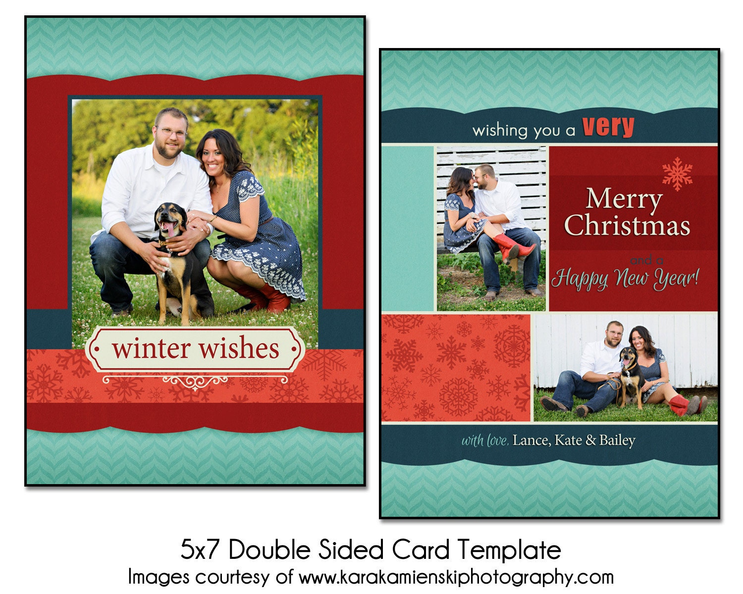 christmas card template winter collage 5x7 double sided. Black Bedroom Furniture Sets. Home Design Ideas