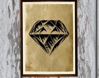 Diamond print Gem illustration Antique poster Old paper  AK171