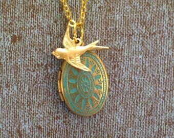 Small Aqua Blue Locket, Gold Brass Sparrow Bird Charm, Art Deco Style Floral Botanical Patina Locket Necklace