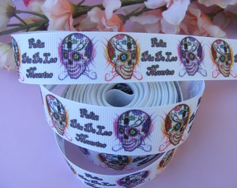 "3 yards of Day of the Dead Dia de los Muertos 1"" grosgrain ribbon for hair bows scrapbooking gift wrapping"