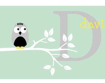Nursery name decal- Tree branch decal- Vinyl decals- Children's name decal- Owl name-