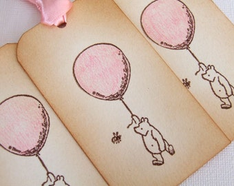 Winnie the Pooh Baby Shower Gift Tags, Set of 6, New Baby Girl, Pink, Decorations, Favor, Hang Tags, Vintage Style, Luxury Tags, 003-P