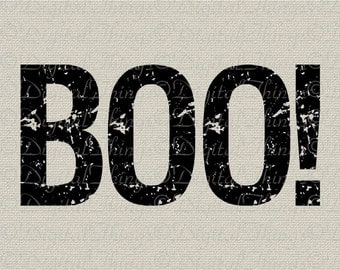 Halloween Boo Word Art Typography Holiday Decor Wall Decor Art Printable Digital Download for Iron on Transfer Tote Pillows Tea Towel DT1509