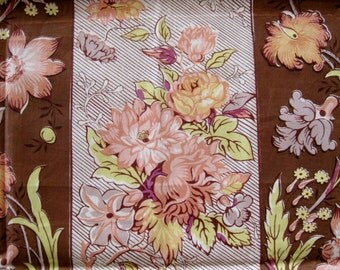 Vintage 50s 60s Brown Floral Print Polished Cotton Hand Print Fabric Remnant 1 Yard