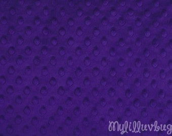 Minky fabric by the yard- purple minky dimple fabric- minky dot fabric