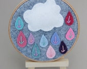 Hoop Art - Puffy Rain Cloud - Children Decor - Wall Art by Catshy Crafts