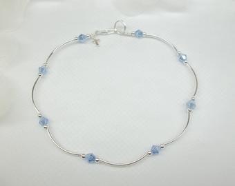 Cross Ankle Bracelet Tanzanite Anklet Black Friday Sale Blue Crystal Anklet Light Blue Anklet Cross Anklet Sterling Silver BuyAny3+Get1Free