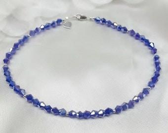 Cobalt Blue Crystal Ankle Bracelet Heart Anklet Dark Blue Crystal Anklet 100% 925 Sterling Silver With Swarovski Crystal BuyAny3+Get1 Free