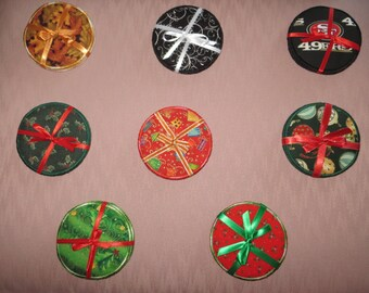 Various Fabric Coaster Sets including 49ers and Christmas