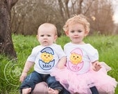 Easter shirt for little girl. Chick in egg with personalized name. Easter chicken for baby girl infant bodysuit. Easter pink seersucker egg.