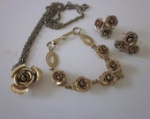 Vintage jewelry set gold roses necklace bracelet clip earrings