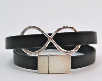 Wrap Bracelet - Infinity Silver and Black Leather Wrap Bracelet