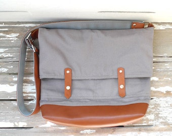 Grey Messenger Bag Leather Bottom  -  Shoulder bag / Tote Bag / Diaper Bag /School bag