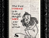 Wizard Of Oz - Cowardly Lion Courage Quote - Dictionary Print Vintage Book Page Art Upcycled Vintage Book Art
