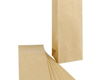 Small Paper Bags x 10 - Kraft Brown - Gift Party Wedding Favour Bag - Decorate Print Stamp