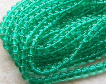 6mm Cool Mint Green Czech Druk Traditional Bohemian Glass Beads, Full Strand (INCZ541)