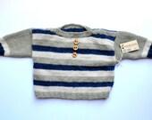 Baby boy- Sweater - Warm - Wool - Rabbit - Blue - Green
