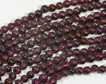 "Garnet 3.3mm 7"" Strand Beads Natural Gemstone Beads Gemstone Bead Garnet Beads Jewelry Making Supplies"