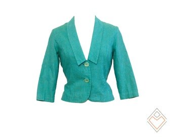 50s vintage turquoise blazer with plunging neckline and unique buttons // summer linen mid century jacket