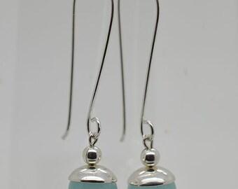 Aquamarine Jade Hangs On Two Inch Sterling Silver Hook 16