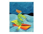 Goddess collage abstract Ocean Sea boat  PRINT 8x10    by Elizabeth Rosen