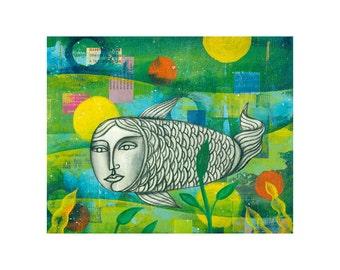 Mermaid Painting Fish Art PRINT 8x10 Ocean, Sea, type art collage   by Elizabeth Rosen
