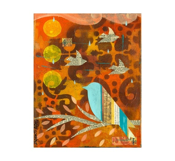 collage type impasto abstract bird rain moroccan pattern  PRINT 8x10   by Elizabeth Rosen