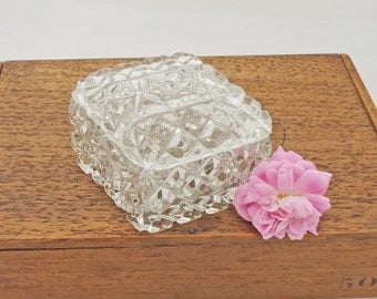 Vintage Clear Glass Trinket Box, Clear Glass Jewellery Box, Dressing Table Set, UK Seller