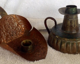 Pair vintage hand wrought chamber copper candlestick candle holders Egyptian and USA tooled