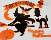 Halloween Plastic Cupcake & Cake Toppers.... 1960's Marked Hong Kong...50+