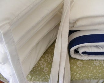 Organic Baby Bedding Four Piece  / Organic White Crib Set With Navy / Royal Blue Stripes or any orgANIC Fabrics